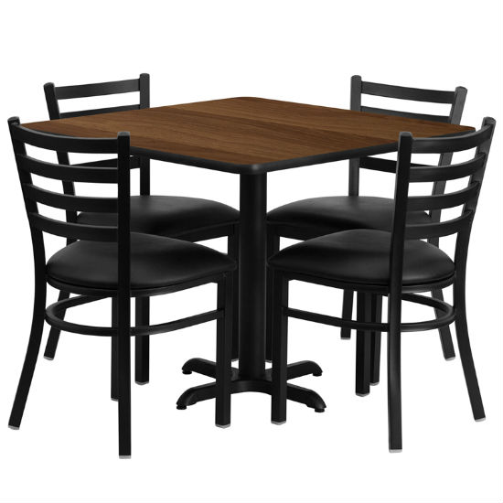 #31 - 36'' SQUARE WALNUT LAMINATE TABLE SET WITH 4 LADDER BACK METAL CHAIRS - BLACK VINYL SEAT