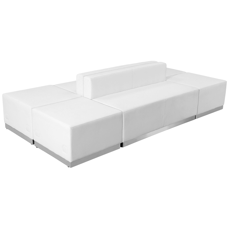 #85 - LOUNGE SERIES WHITE LEATHER RECEPTION CONFIGURATION, 6 PIECES