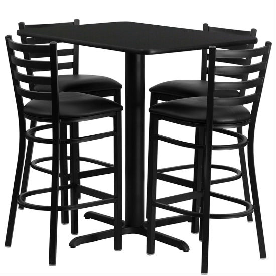 #33 - 24''W X 42''L RECTANGULAR BLACK LAMINATE TABLE SET WITH 4 LADDER BACK METAL BAR STOOLS - BLACK VINYL SEAT