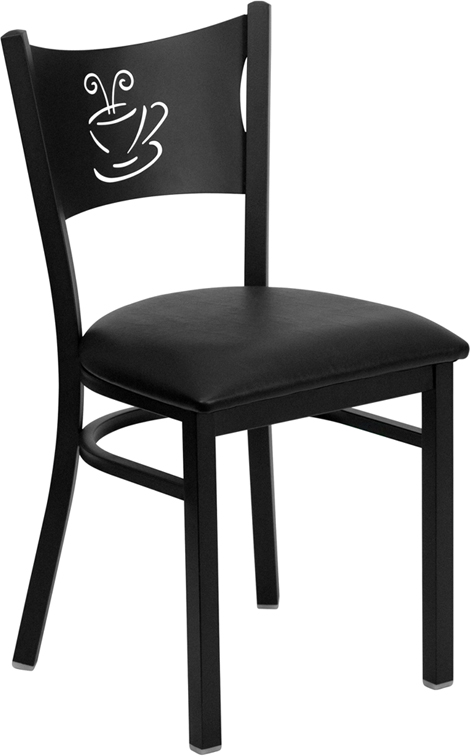 #78 - BLACK COFFEE BACK METAL RESTAURANT CHAIR - BLACK VINYL SEAT