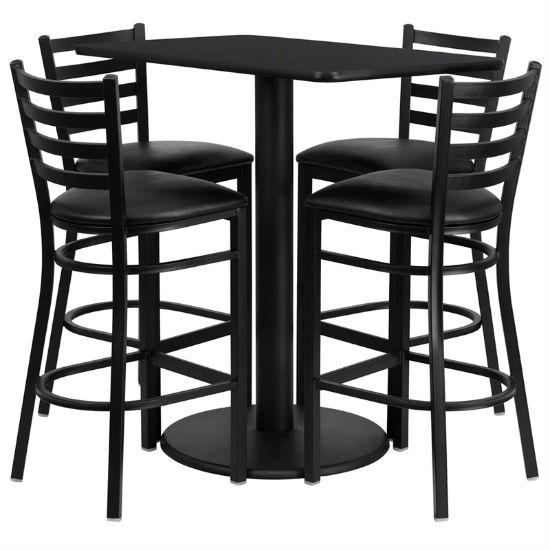 #34 - 24'' X 42'' RECTANGULAR BLACK LAMINATE TABLE SET WITH 4 LADDER BACK METAL BAR STOOLS - BLACK VINYL SEAT