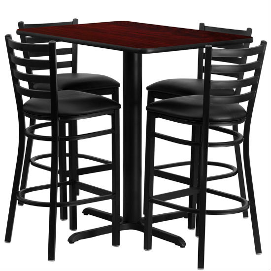 #35 - 24''W X 42''L RECTANGULAR MAHOGANY LAMINATE TABLE SET WITH 4 LADDER BACK METAL BAR STOOLS - BLACK VINYL SEAT