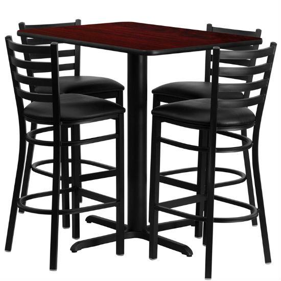 #35 - 24''W X 42''L RECTANGULAR MAHOGANY LAMINATE TABLE SET WITH 4 LADDER BACK METAL BAR STOOLS - BLACK VINYL SEAT