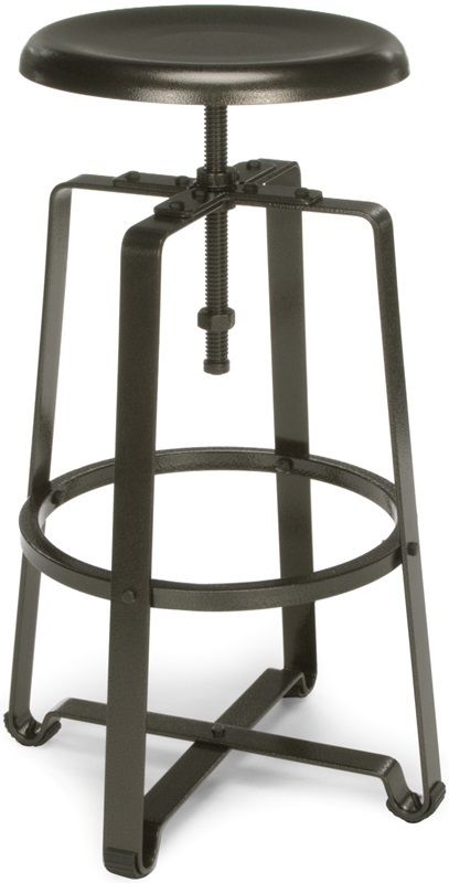 #80 - Industrial Style Adjustable Tall Metal Stool in Dark Vein Seat and Legs