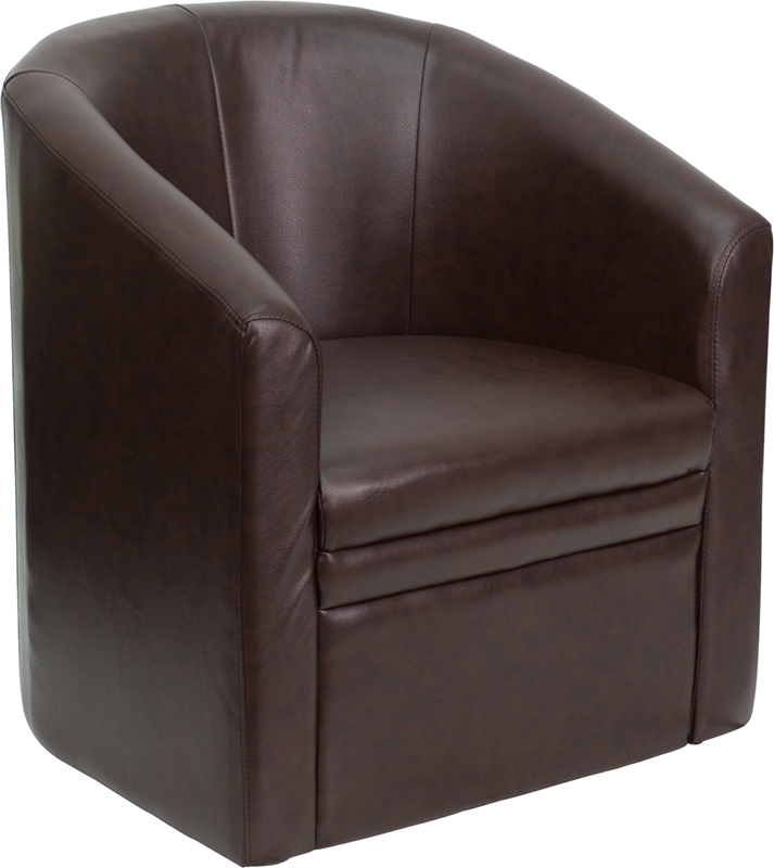 #14 - BROWN LEATHER BARREL-SHAPED GUEST CHAIR