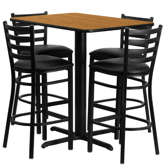 #37 - 24''W X 42''L RECTANGULAR NATURAL LAMINATE TABLE SET WITH 4 LADDER BACK METAL BAR STOOLS - BLACK VINYL SEAT