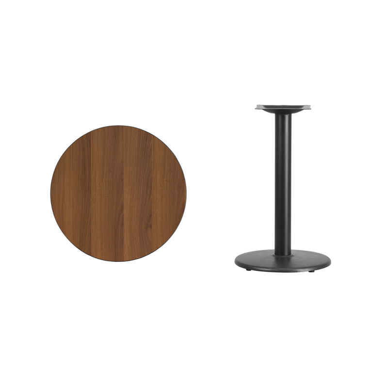 #15 - 24'' Round Walnut Laminate Table Top with 18'' Round Table Height Base