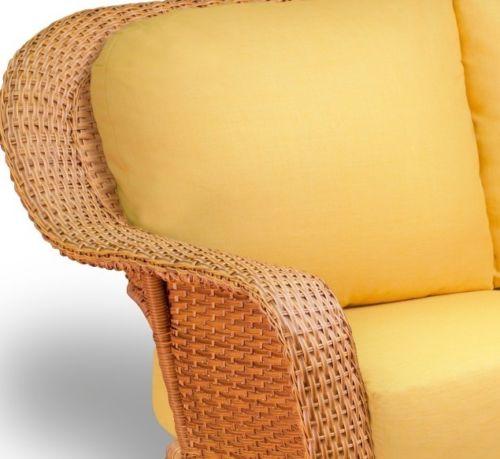 #89 - Outdoor Patio Garden Furniture Mojave Resin Wicker Love Seat in Rave Lemon