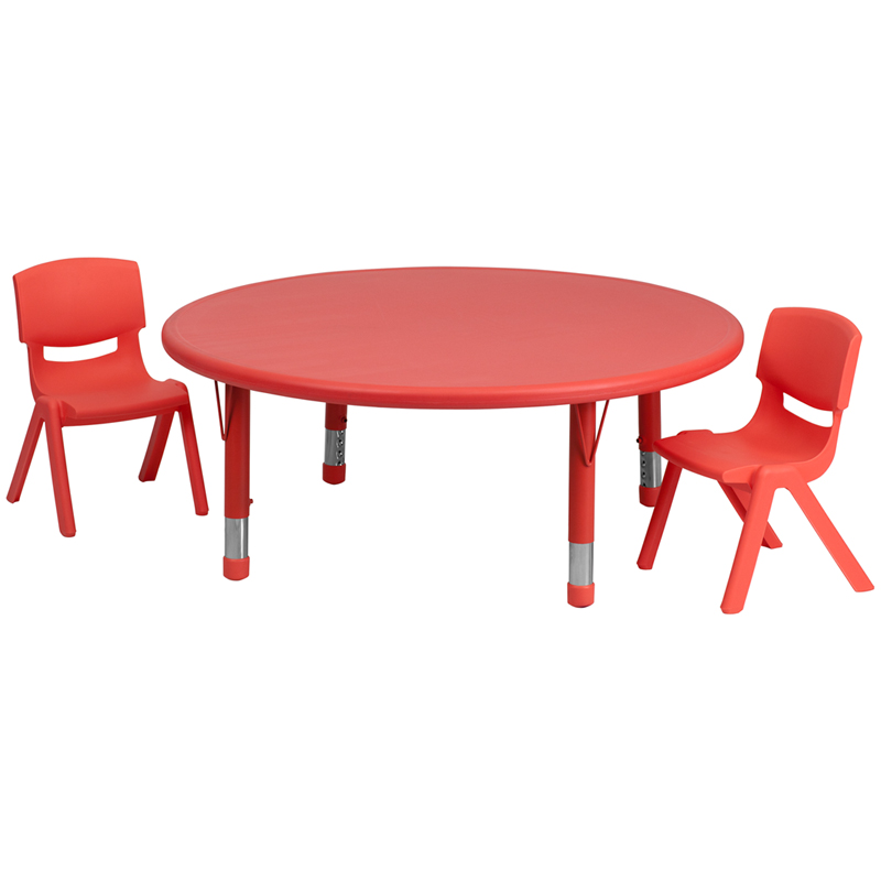 #29 - 45'' ROUND ADJUSTABLE RED PLASTIC ACTIVITY TABLE SET WITH 2 SCHOOL STACK CHAIRS