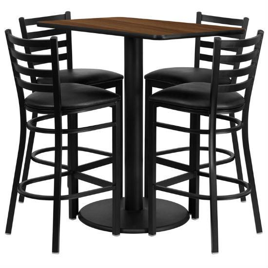 #40 - 24'' X 42'' RECTANGULAR WALNUT LAMINATE TABLE SET WITH 4 LADDER BACK METAL BAR STOOLS - BLACK VINYL SEAT