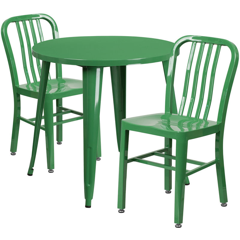 #31 - 30'' Round Green Metal Indoor-Outdoor Restaurant Table Set with 2 Vertical Slat Back Chairs