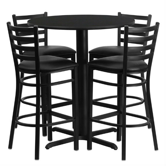 #41 - 30'' ROUND BLACK LAMINATE TABLE SET WITH 4 LADDER BACK METAL BAR STOOLS - BLACK VINYL SEAT