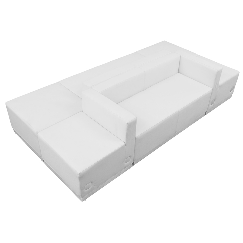 #86 - LOUNGE SERIES WHITE LEATHER RECEPTION CONFIGURATION, 6 PIECES