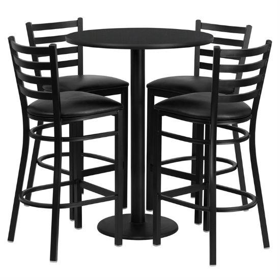 #42 - 30'' ROUND BLACK LAMINATE TABLE SET WITH 4 LADDER BACK METAL BAR STOOLS - BLACK VINYL SEAT