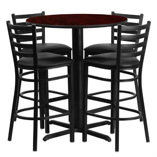 #43 - 30'' ROUND MAHOGANY LAMINATE TABLE SET WITH 4 LADDER BACK METAL BAR STOOLS - BLACK VINYL SEAT