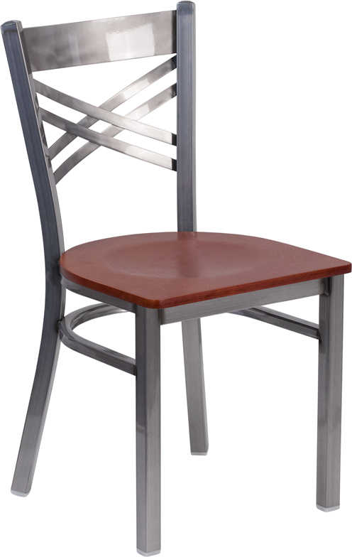 #31 - Clear Coated ''X'' Back Metal Restaurant Chair Cherry Finished Wood Seat
