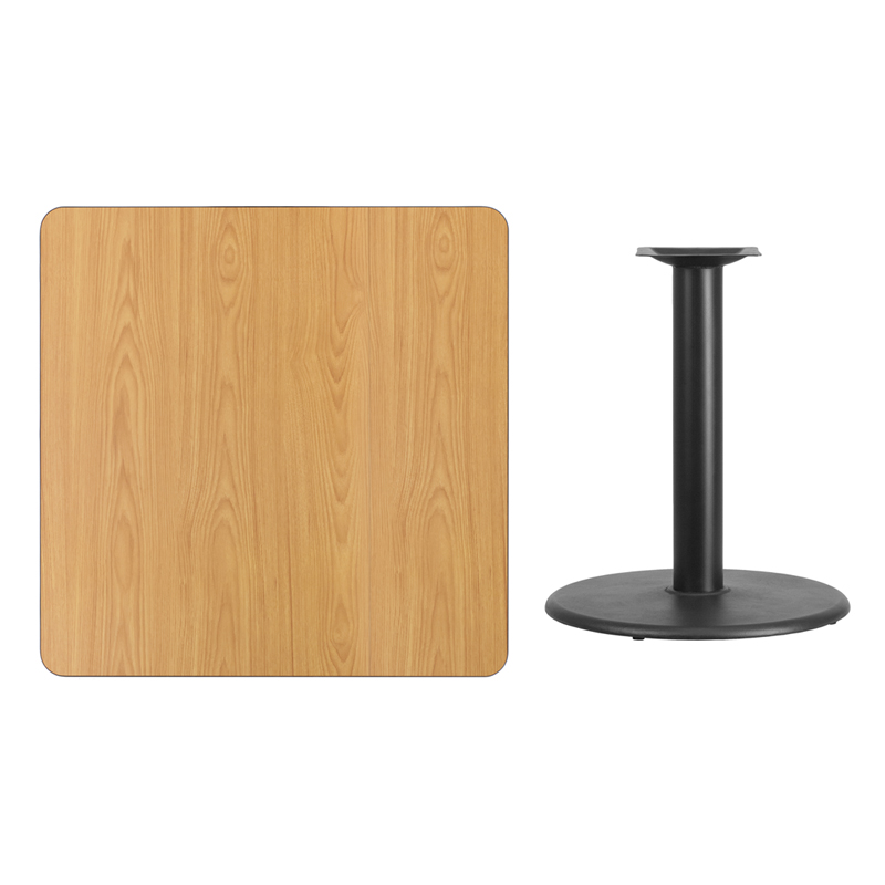 #100 - 36'' SQUARE NATURAL LAMINATE TABLE TOP WITH 24'' ROUND TABLE HEIGHT BASE