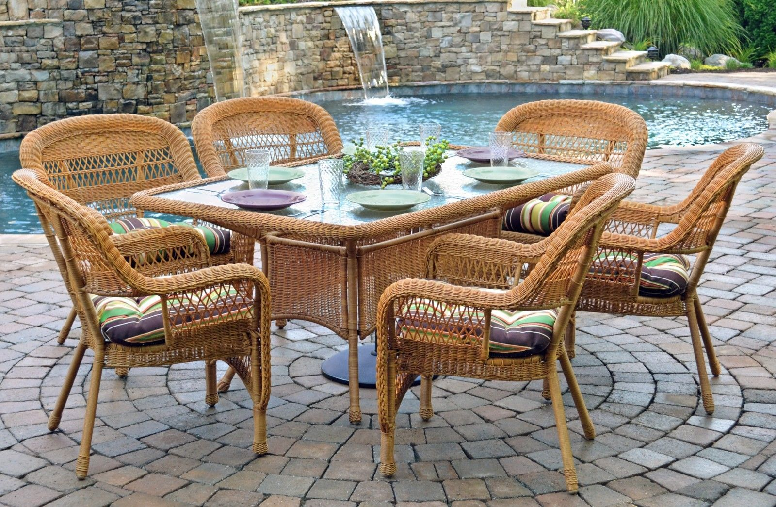 #4 - 7 Pcs Outdoor Patio Dining Set w/Southwest Amber Resin Wicker - Cove Stripe Cafe