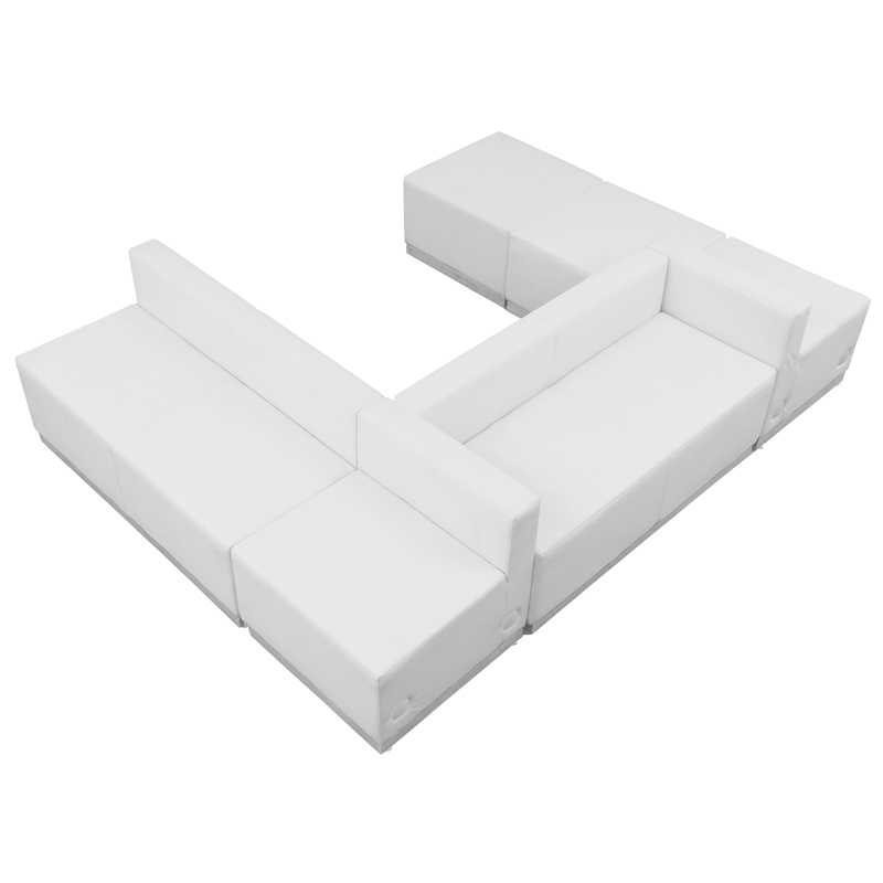 #87 - LOUNGE SERIES WHITE LEATHER RECEPTION CONFIGURATION, 6 PIECES