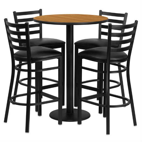 #46 - 30'' ROUND NATURAL LAMINATE TABLE SET WITH 4 LADDER BACK METAL BAR STOOLS - BLACK VINYL SEAT