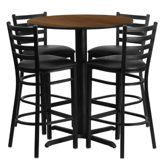 #47 - 30'' ROUND WALNUT LAMINATE TABLE SET WITH 4 LADDER BACK METAL BAR STOOLS - BLACK VINYL SEAT