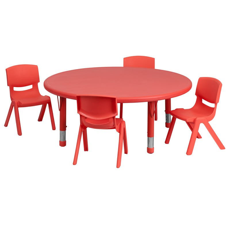 #30 - 45'' ROUND ADJUSTABLE RED PLASTIC ACTIVITY TABLE SET WITH 4 SCHOOL STACK CHAIRS
