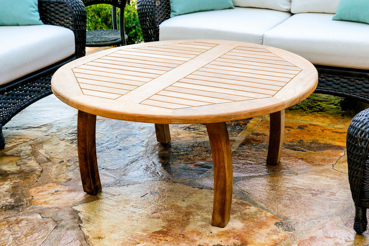 "#172 - 39.5"" Jakarta Teak Round Coffee Table in Teak Hardwood - Outdoor Furniture"