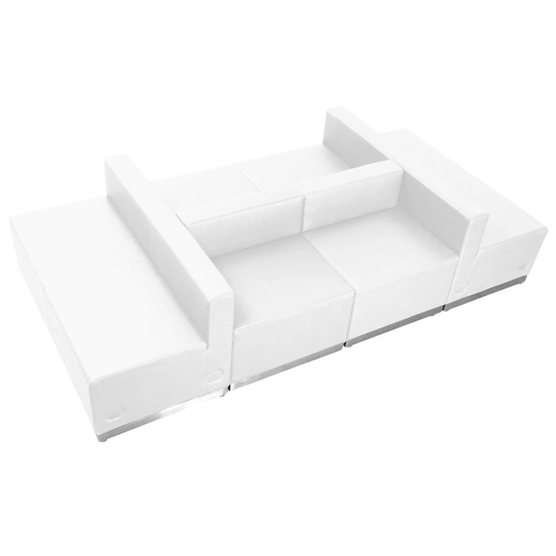 #88 - LOUNGE SERIES WHITE LEATHER RECEPTION CONFIGURATION, 6 PIECES