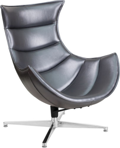 #47 - Retro Style Gray Leather Swivel Cocoon Accent Chair - Cocoon Lounge Chair