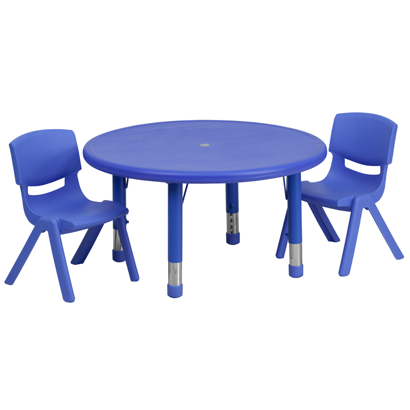 #31 - 33'' ROUND ADJUSTABLE BLUE PLASTIC ACTIVITY TABLE SET WITH 2 SCHOOL STACK CHAIRS
