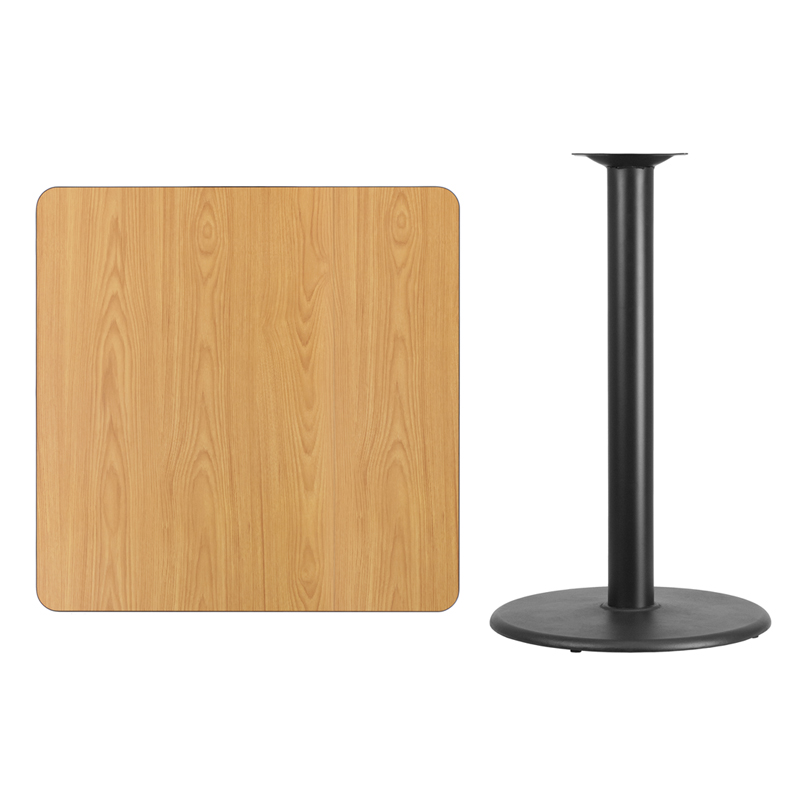 #101 - 36'' SQUARE NATURAL LAMINATE TABLE TOP WITH 24'' ROUND BAR HEIGHT BASE