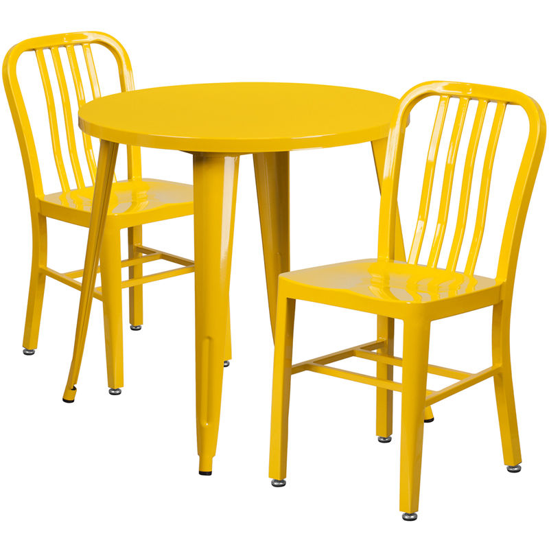 #33 - 30'' Round Yellow Metal Indoor-Outdoor Restaurant Table Set with 2 Vertical Slat Back Chairs