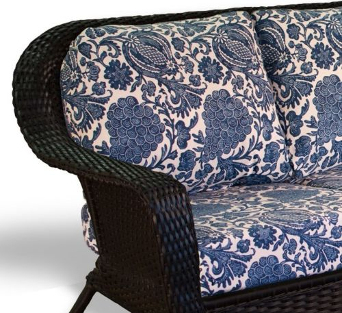 #50 - Outdoor Patio Garden Furniture Tortoise Resin Wicker Sofa - Indigo Cushion