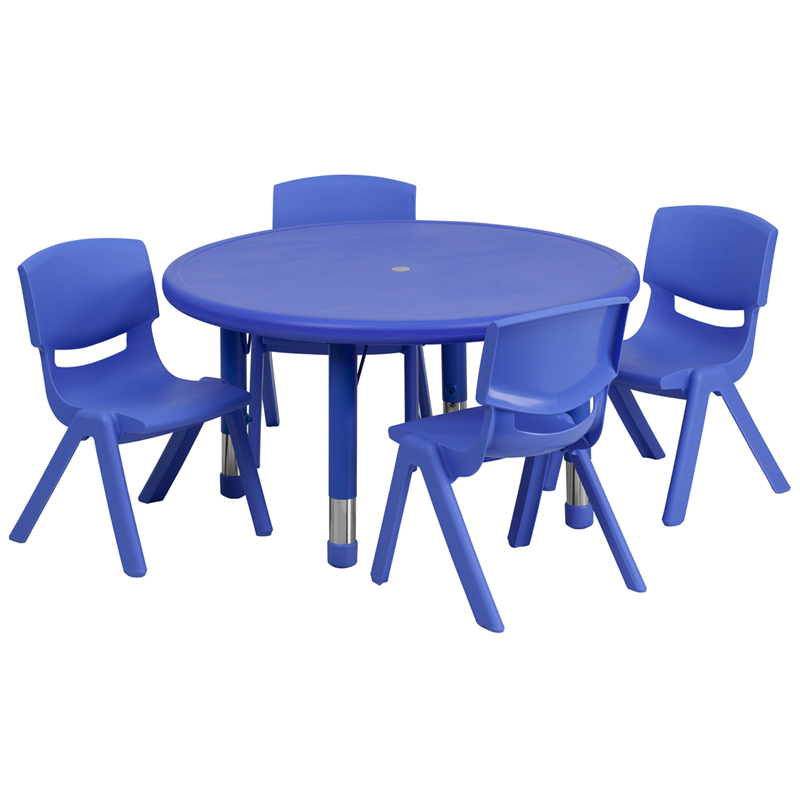 #32 - 33'' ROUND ADJUSTABLE BLUE PLASTIC ACTIVITY TABLE SET WITH 4 SCHOOL STACK CHAIRS