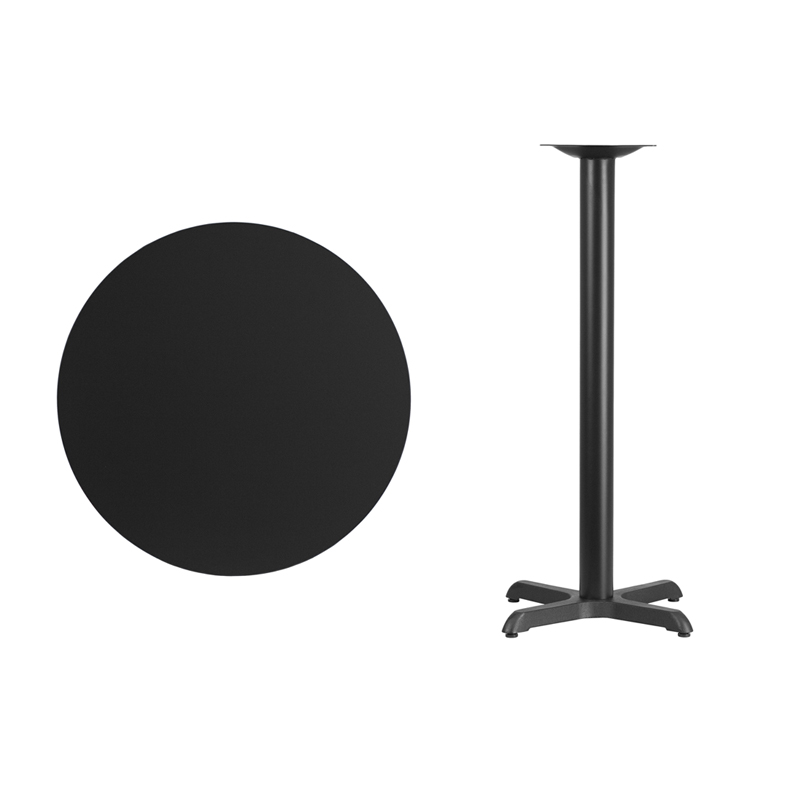#18 - 30'' Round Black Laminate Table Top with 22'' x 22'' Bar Height Base