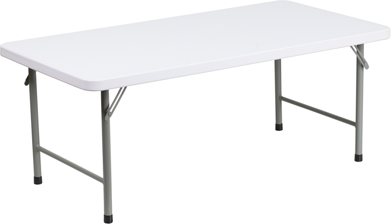 #34 - 24''W X 48''L X 19''H KID'S GRANITE WHITE PLASTIC FOLDING TABLE