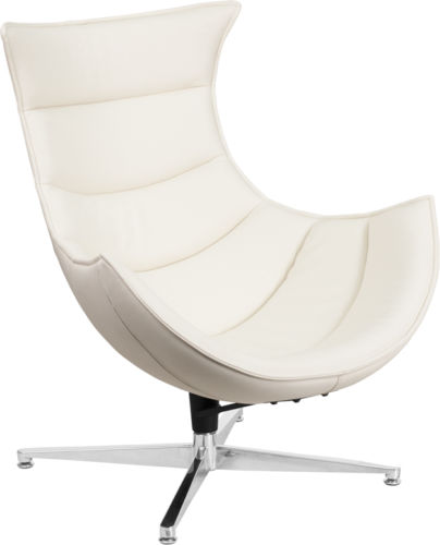 #46 - Retro Style White Leather Swivel Cocoon Accent Chair - Cocoon Lounge Chair