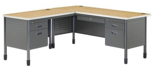 #7- Mesa Series Secretarial Office Desk with Oak Top and Left Return
