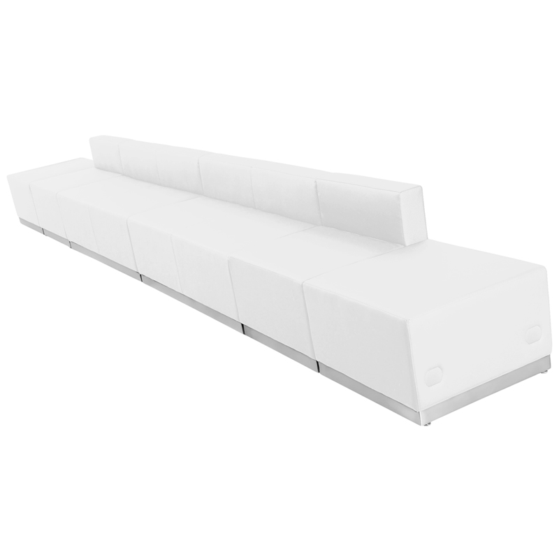 #89 - LOUNGE SERIES WHITE LEATHER RECEPTION CONFIGURATION, 6 PIECES