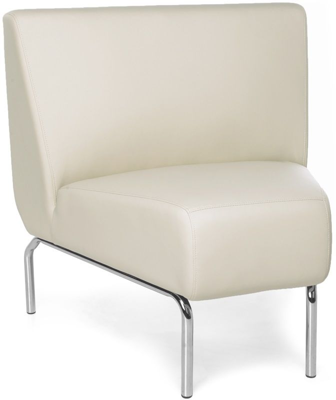 #166 - Armless 45 Degree Lounge Chair with Vinyl Seat and Chrome Feet in Cream