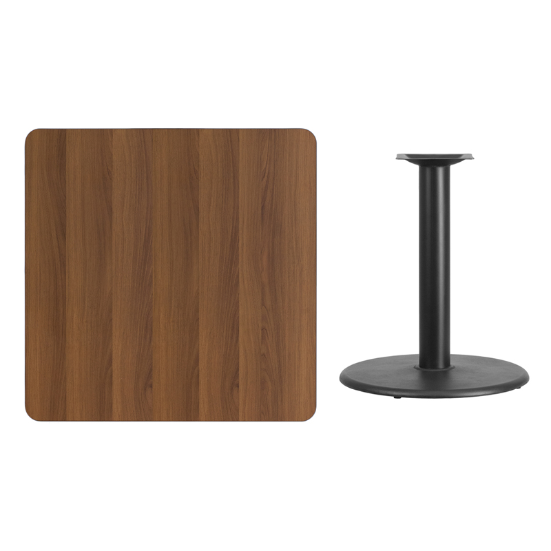 #102 - 36'' SQUARE WALNUT LAMINATE TABLE TOP WITH 24'' ROUND TABLE HEIGHT BASE