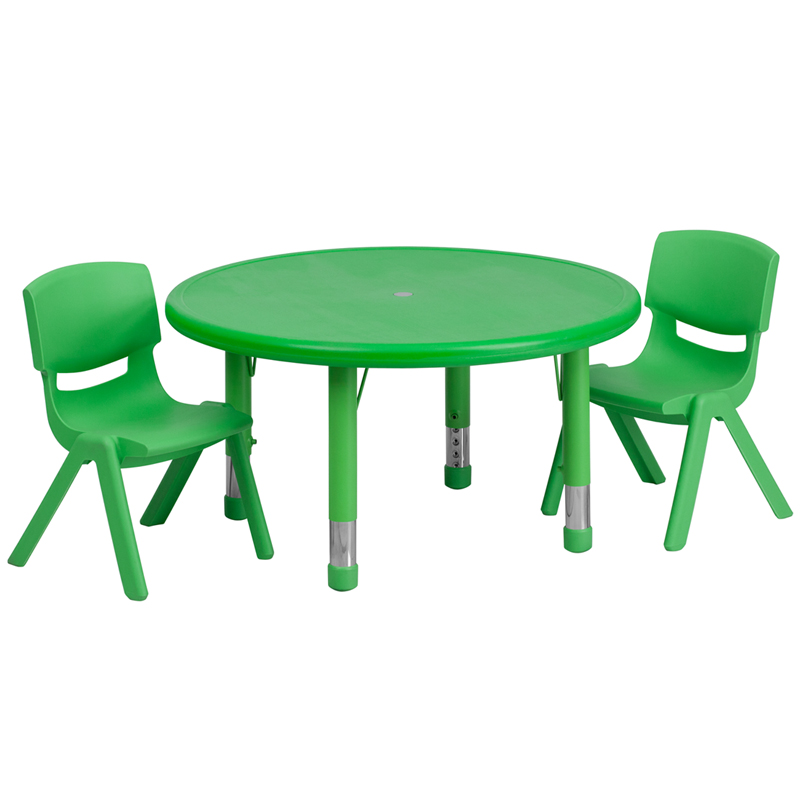 #33 - 33'' ROUND ADJUSTABLE GREEN PLASTIC ACTIVITY TABLE SET WITH 2 SCHOOL STACK CHAIRS