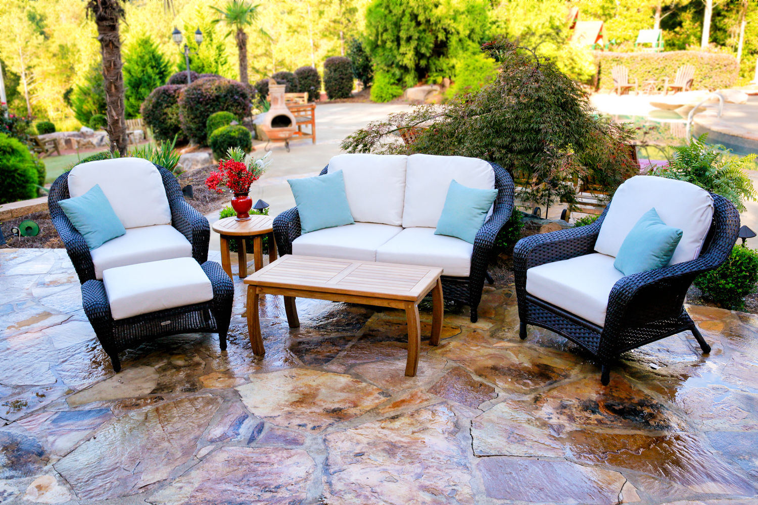 #182 - 6-PCS Loveseat & Chair Set with Jakarta Teak Coffee Table in Your Color Choice Wicker