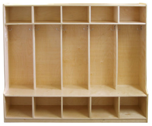 #2 - Birch 5-Section Coat Locker with Bench