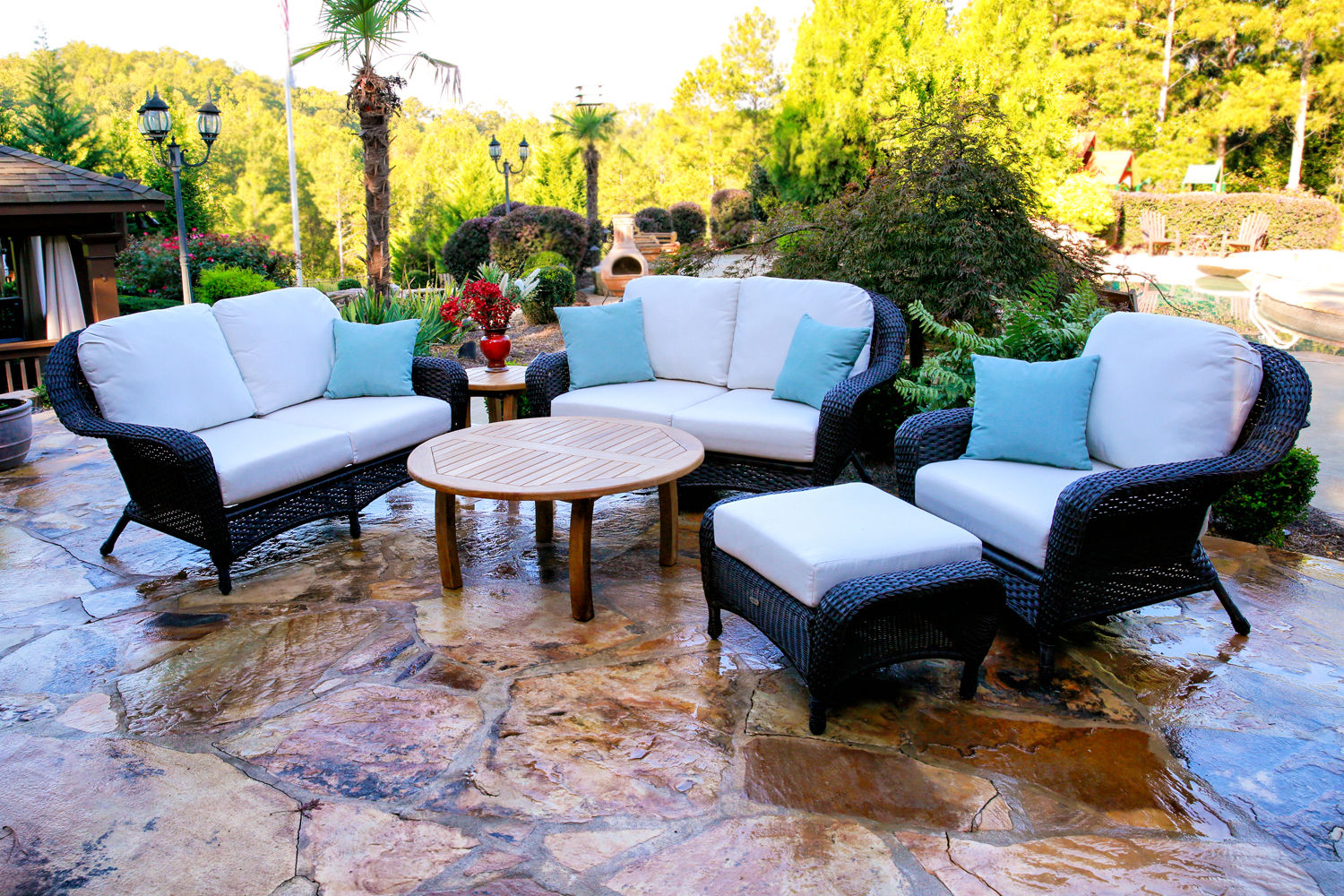 #183 - 6-PCS Loveseat & Chair Set with Jakarta Teak Coffee Table with Your Color Choice Wicker