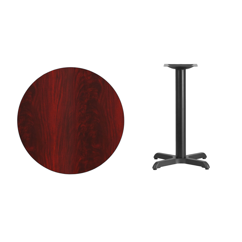 #19 - 30'' Round Mahogany Laminate Table Top with 22'' x 22'' Table Height Base