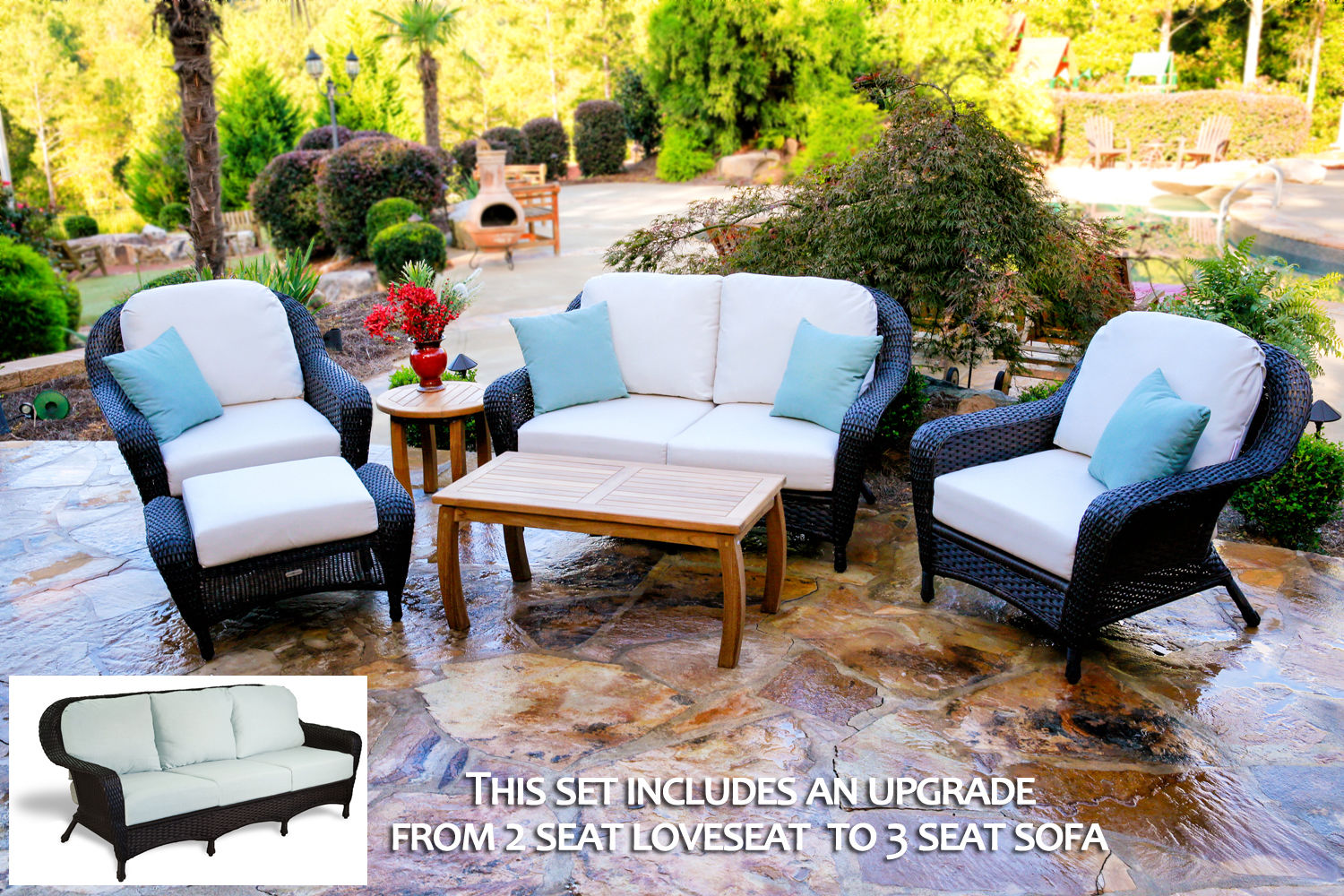 #184 - 6-Pieces Sofa & Chair Set with Jakarta Teak Coffee Table with Your Color Choice Wicker