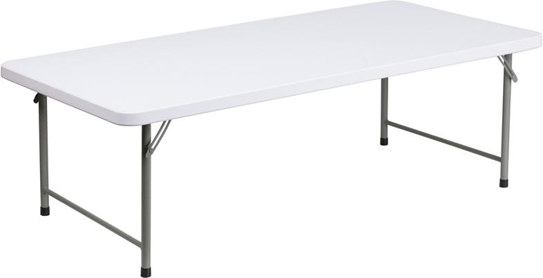 #35 - 30''W X 60''L X 19''H KID'S GRANITE WHITE PLASTIC FOLDING TABLE