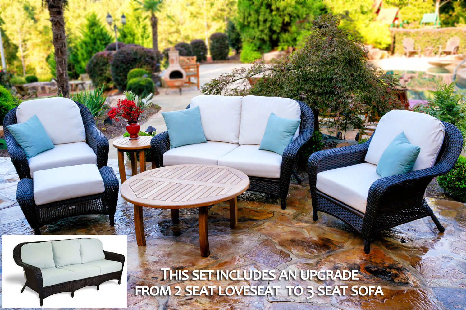 #185 - 6-Pieces Sofa & Chair Set with Jakarta Teak Coffee Table with Your Color Choice Wicker