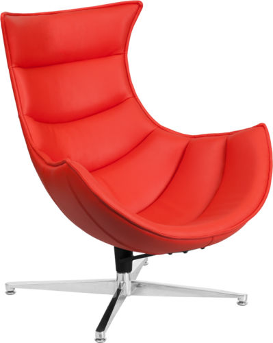 #48 - Retro Style Red Leather Swivel Cocoon Accent Chair - Cocoon Lounge Chair